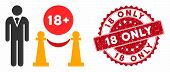 Vector For Adults Only Icon And Rubber Round Stamp Watermark With 18 Only Caption. Flat For Adults O poster
