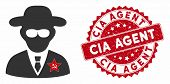 Vector Kgb Spy Icon And Rubber Round Stamp Seal With Cia Agent Text. Flat Kgb Spy Icon Is Isolated O poster