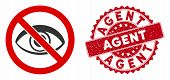 Vector No View Icon And Grunge Round Stamp Watermark With Agent Caption. Flat No View Icon Is Isolat poster