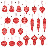 Red Simple Christmas Toys For Holiday Celebrations Scandinavian Nordic Style. Christmas, New Year De poster