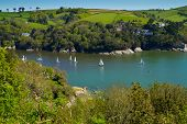 pic of dartmouth  - Yachts sailing in the mouth of the River Dart in Devon - JPG
