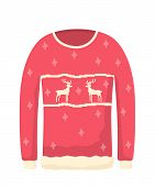Ugly Knitted Sweater Flat Vector Illustration. Xmas Themed Clothes, Red Warm Jumper With Reindeers.  poster