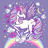 A White, Beautiful Unicorn On A Rainbow Surrounded By Stars And Roses. Fantasy Animal. For Your Desi poster
