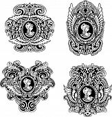picture of cameos  - Set of decorative antique cameos with wings and woman portrait in profile - JPG