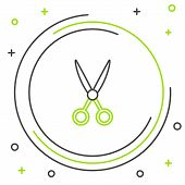 Black And Green Line Scissors Hairdresser Icon Isolated On White Background. Hairdresser, Fashion Sa poster