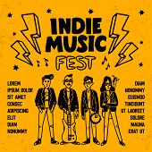 Indie Music Festival Poster Or Flyer Template. Illustration Of Musicians And And Indie Rock Fest Ins poster