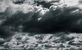 Dark Dramatic Sky And Clouds. Background For Death And Sad Concept. Gray Sky And Fluffy White Clouds poster