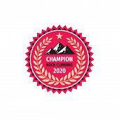 Champion Rock Lclimbing Concept Logo Badge Design With Laurel Wreath. Mountain Logo. Outdoor Logo. E poster