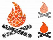 Campfire Composition Of Abrupt Elements In Various Sizes And Color Tinges, Based On Campfire Icon. V poster
