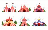 Circus Tent. Carnival Circus Canopy Stripe Tent Different Styles Happy Party Symbols Vector Cartoon  poster