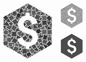 Dollar Hexagon Mosaic Of Rugged Parts In Various Sizes And Shades, Based On Dollar Hexagon Icon. Vec poster