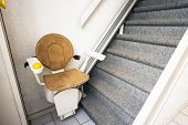 Automatic Stair Lift On Staircase Taking Elderly People And Disabled Persons Up And Down In A House  poster