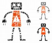 Robot Danger Mosaic Of Unequal Parts In Different Sizes And Color Tinges, Based On Robot Danger Icon poster