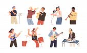 People Playing Musical Instruments Vector Illustrations Set. Young Singer Recording Song With Profes poster
