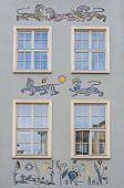 Ornaments On The Wall Of Renovated Old Tenement House In Gdansk Old Town, Poland poster