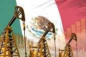 Mexico Oil And Petrol Industry Concept, Industrial Illustration On Mexico Flag Background. 3d Illust poster