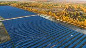 Solar panels in aerial view. Solar panels system power generators from sun poster