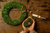 Christmas Decor In Eco Style - Materials For Creating A Wreath On The Door. Cinnamon Sticks, Moss, C poster