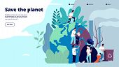 Ecology Landing Page. Characters Cleaning Trash Earth Surface, Environmental Protection Recycling An poster