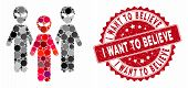 Collage Alien Group And Rubber Stamp Watermark With I Want To Believe Text. Mosaic Vector Is Formed  poster