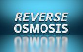 Phrase Words Reverse Osmosis Written In Bold White Letters On Blue Reflective Background. 3d Illustr poster