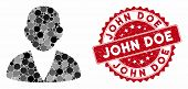 Mosaic Customer And Rubber Stamp Watermark With John Doe Caption. Mosaic Vector Is Created With Cust poster