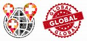 Mosaic Global Clinic Company And Corroded Stamp Seal With Global Text. Mosaic Vector Is Created With poster