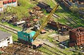 stock photo of railcar  - Train crane railcar - JPG