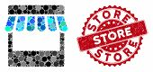 Mosaic Store And Distressed Stamp Watermark With Store Text. Mosaic Vector Is Designed With Store Ic poster