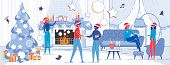 Winter Christmas Eve Men And Women, Relatives Or Friends Talking And Wishing Merry Holidays In Festi poster