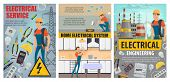 Home Electrical Service And Electricity Engineering Industry. Vector Electrician, Energy Power Gener poster