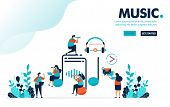 Vector Illustration Music Entertainment. People Around On Music Sign And Earphone. Listen, Create An poster