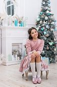 Dreams Come True. Hope Concept. Dreamy Baby Christmas Wish. Making Wish. Waiting For Santa Claus. Ad poster