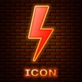 Glowing Neon Lightning Bolt Icon Isolated On Brick Wall Background. Flash Icon. Charge Flash Icon. T poster