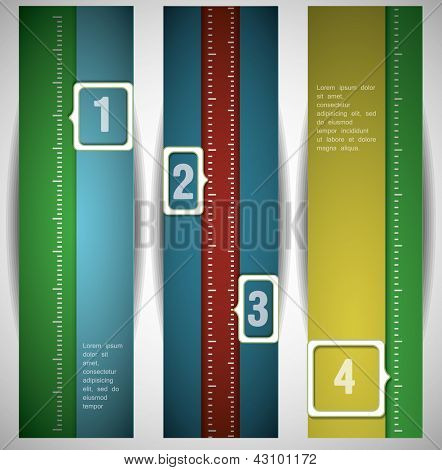 Banners with numbers.Design template. can be used for infographics. numbered banners. vertical cutout lines.