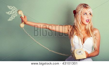 Comic Portrait Of A Blond Pin-up Girl With Phone