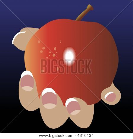 Apple Hand Hold Give Vector Offer Fingers Grip