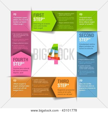 Four consecutive steps cycle - design template. Fully editable vector. Can be used for any design.
