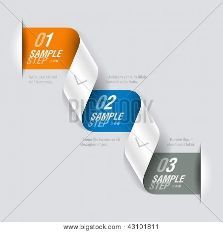 Consecutive steps - design template. Fully editable vector.
