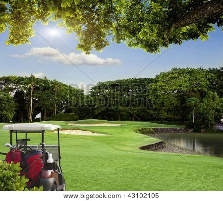 Golf cart on the course with colorful background and dark blue sky.