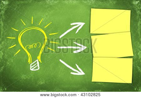 big light bulb as and idea symbol with 3 arrows pointing to blank postits
