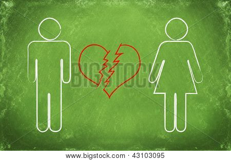 man and woman falling out of love or broken heart concept