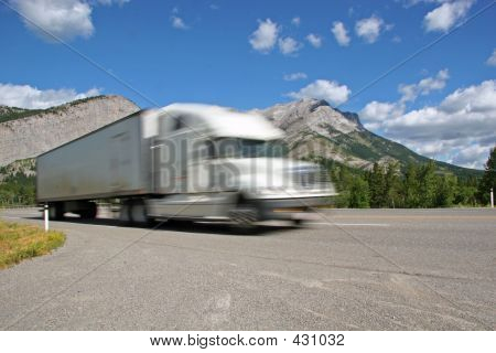 Semi With Mountains