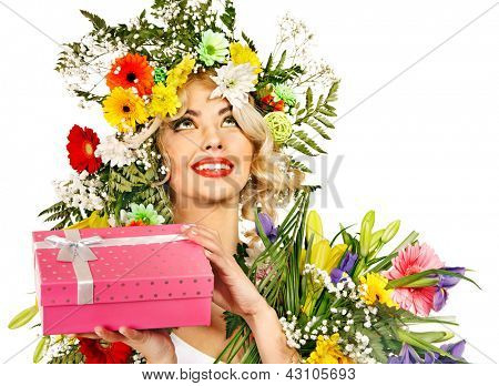 Woman with gift box and flower. Isolated.