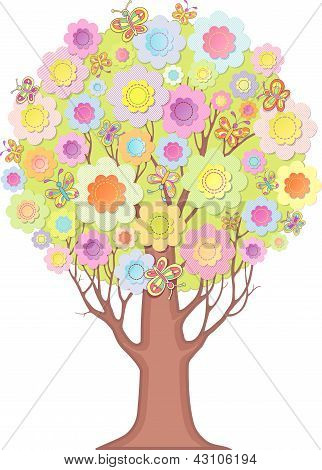 Isolated ornamental tree. Foliage of stylized flowers and butterflies