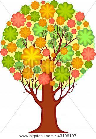 Isolated ornamental tree. Foliage of stylized leaves