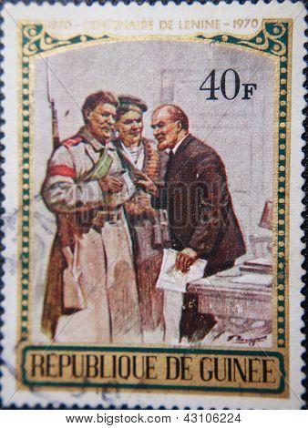 REPABLIQUE DE GUENEE - CIRCA 1970: stamp printed by Guenee shows portrait of Socialist lider Lenin