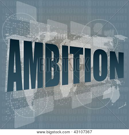 Ambition Word On Blue Digital Touch Background