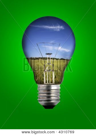 Light Bulb With Landscape Inside Over Green Background