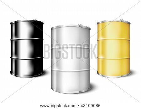 Metal drum barrels set